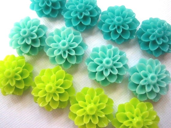 Magnet Set 12 pc Fridge Magnets Turquoise Lime Green Aqua | Etsy