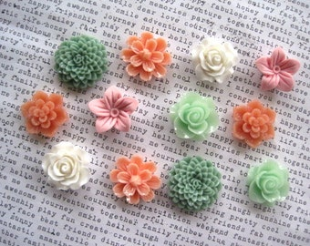 Pretty Magnet Set, 12 pc Flower Magnets, Sage, Pink, Peach, Ivory Flower Magnets, Locker Magnets, Art Boards, Hostess Gifts, Wedding Favors