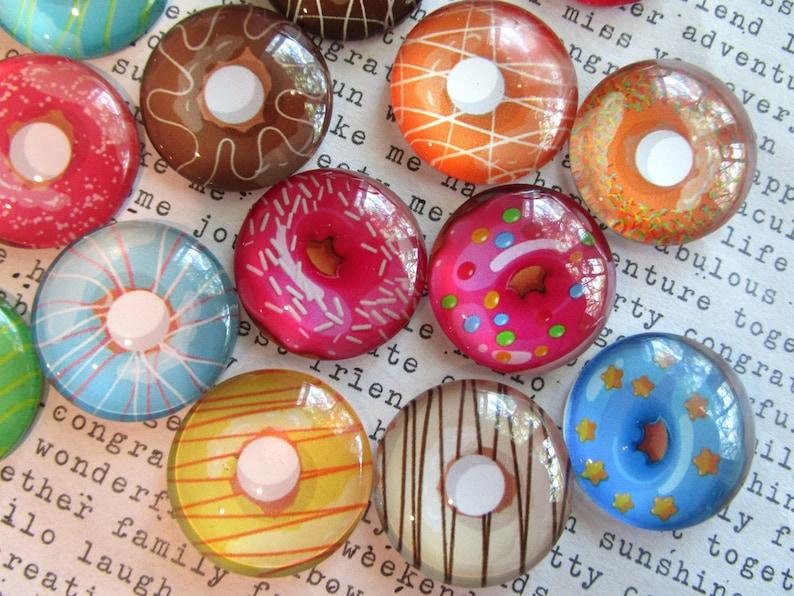 Cute Office Supply 34 Glass Fridge Magnet 6 to 12 Strong Magnets Donut Magnets Junk Food Magnet Locker Magnet