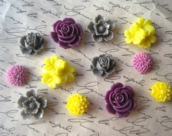 Magnets, 12 pc Flower Magnets, Purple, Yellow and Gray Kitchen Decor, Housewarming Gifts, Hostess Gifts, Wedding Favors