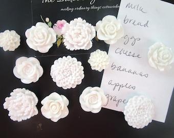 White Magnet Set, 12 Fridge Magnets, Decorative Magnets, Flower Magnets, Locker Magnets, Cute Office Supply