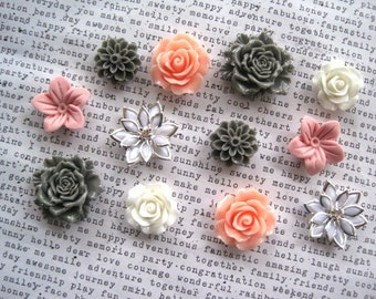 Pretty Magnet Set, 12 pc Flower Magnets, White, Pink and Gray, Locker Magnets, Housewarming Gifts, Hostess Gifts, Wedding Favors