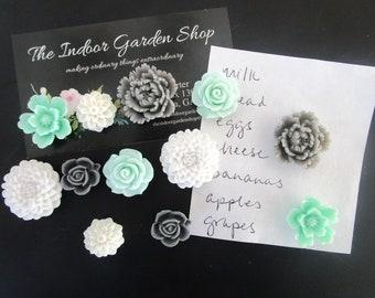 Pretty Magnet Set, 12 Cute Fridge Magnets, Decorative Magnets, Mint Green, Magnet for Board, Locker Magnet, Wedding Favors