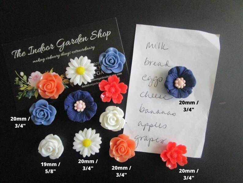 White 12 Flower Magnets Navy Locker Magnets Magnet Set Cute Office Supply Coral Co-Worker Gift Cubicle Decor