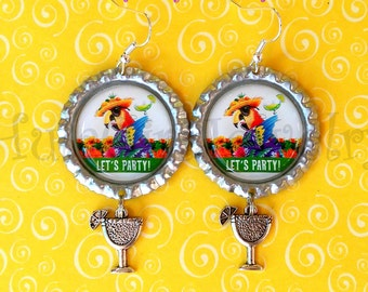 Jimmy Buffett Inspired, ParrotHead, Lets Party, Fun, Margaritaville, Parrot Head Bottle Cap Earrings