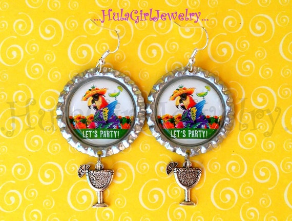 Admirable Jimmy Buffett Inspired Parrothead Lets Party Fun Margaritaville Parrot Head Bottle Cap Earrings Interior Design Ideas Philsoteloinfo