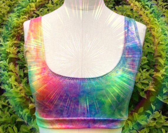 Rainbow Magical Mermaid Tie Dye Sports Bra Festival Tave Workout Bralette