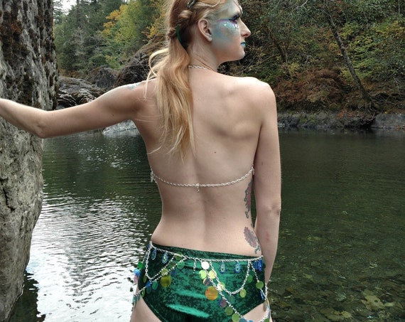 Green Glitter Mid-Rise Cheeky Hot Shorts Swim / Rave / festival Bottom