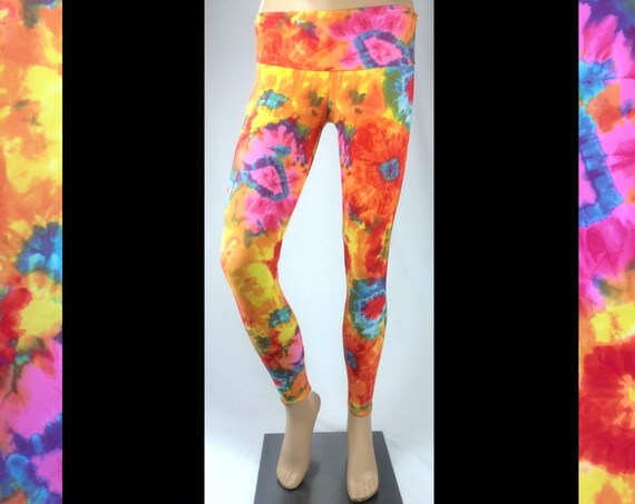 Tie Dye Yoga Festival Rave Workout Fitness Leggings