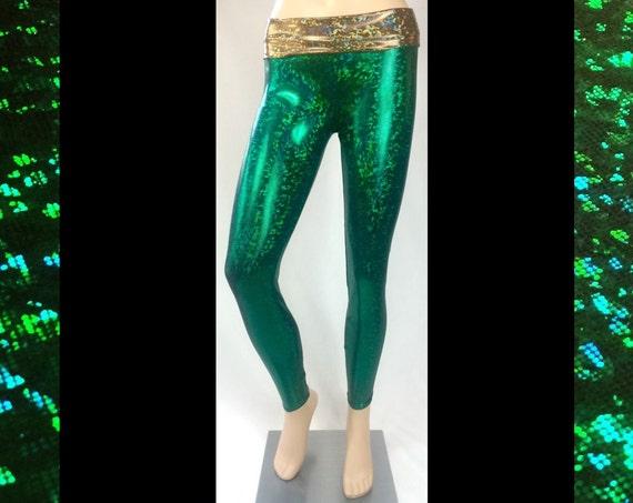 Green Glitterati Leggings with Gold Waist band