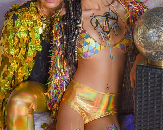 Mid-Rise Gold Holographic Cheeky Bikini Swimsuit Bottoms / Rave Festival Shorts