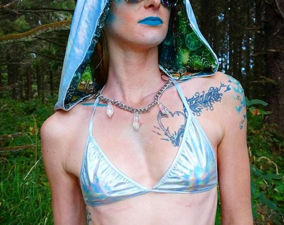 Extraterrestrial Holographic Rainbow Bikini Rave Festival Swimsuit Top
