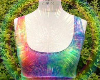 17790266ecb Rainbow Magical Mermaid Sporty Bralette