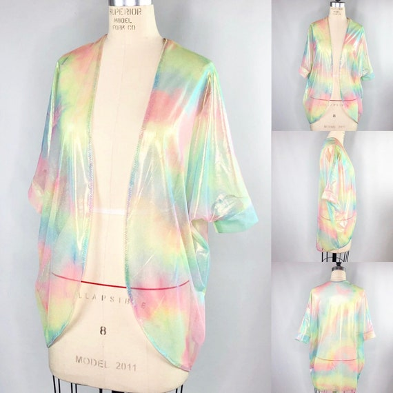 Somewhere Over the Rainbow Sheer Tie dye Elbow Length Festival Kimono with Iridescent Gold Finish