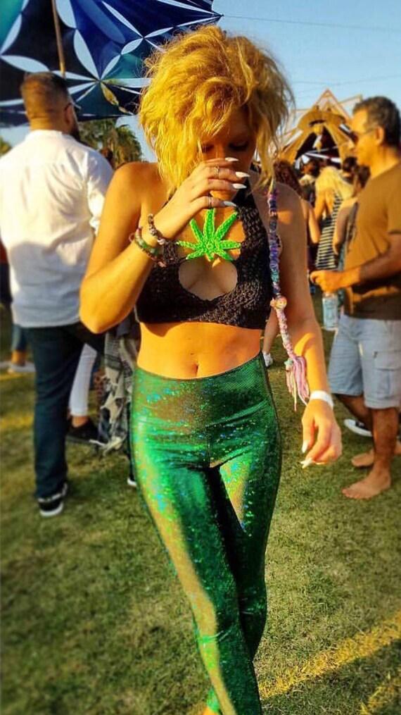 Green Glitterati Leggings