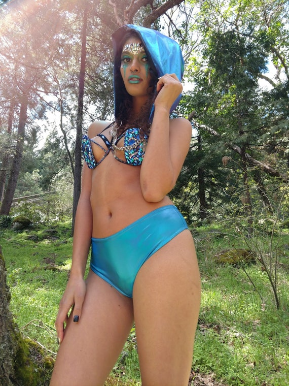 Holographic Ocean Mid-Rise Cheeky Swim / Rave Bottom