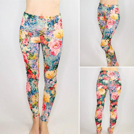 Monet Rose Floral Watercolor Festival Rave Yoga Leggings