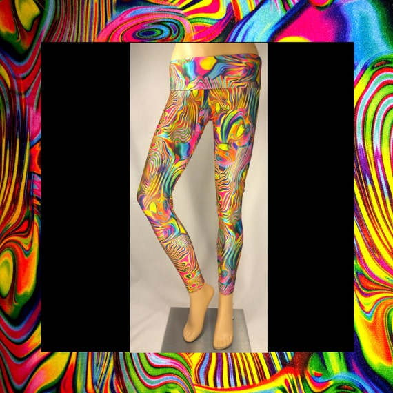 Phunkadelic Rainbow Yoga Festival Rave Workout Fitness Leggings