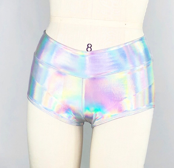Extraterrestrial Holographic Rainbow Cutie Booty Swim / Festival / Rave / Shorts