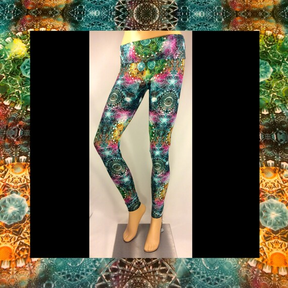 Sacred Geometry Gemstone Leggings in Aqua Marine