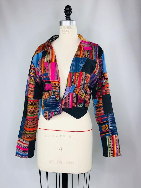 Vintage Guatemalan Rainbow Patchwork Bohemian Festival Jacket
