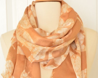 Ivory color Silk Batik scarf.Hand made Leaves printed scarf.Long neck scarf.
