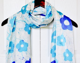 Floral silk scarf, Hand painted silk scarf, Blue scarf, gift for her, Batik scarf, Birthday gift for her, silk scarves, long silk scarf,