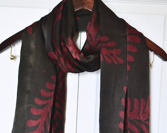 Silk scarves, Batik scarf, Black scarf, Hand painted silk scarf, black & red scarf, gift for her, red vines , large shawls, long scarves,