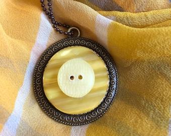 Vintage Yellow Button Pendant Necklace