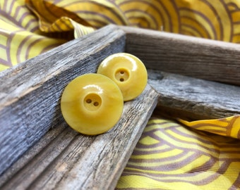 Vintage Yellow Button Stud Earrings