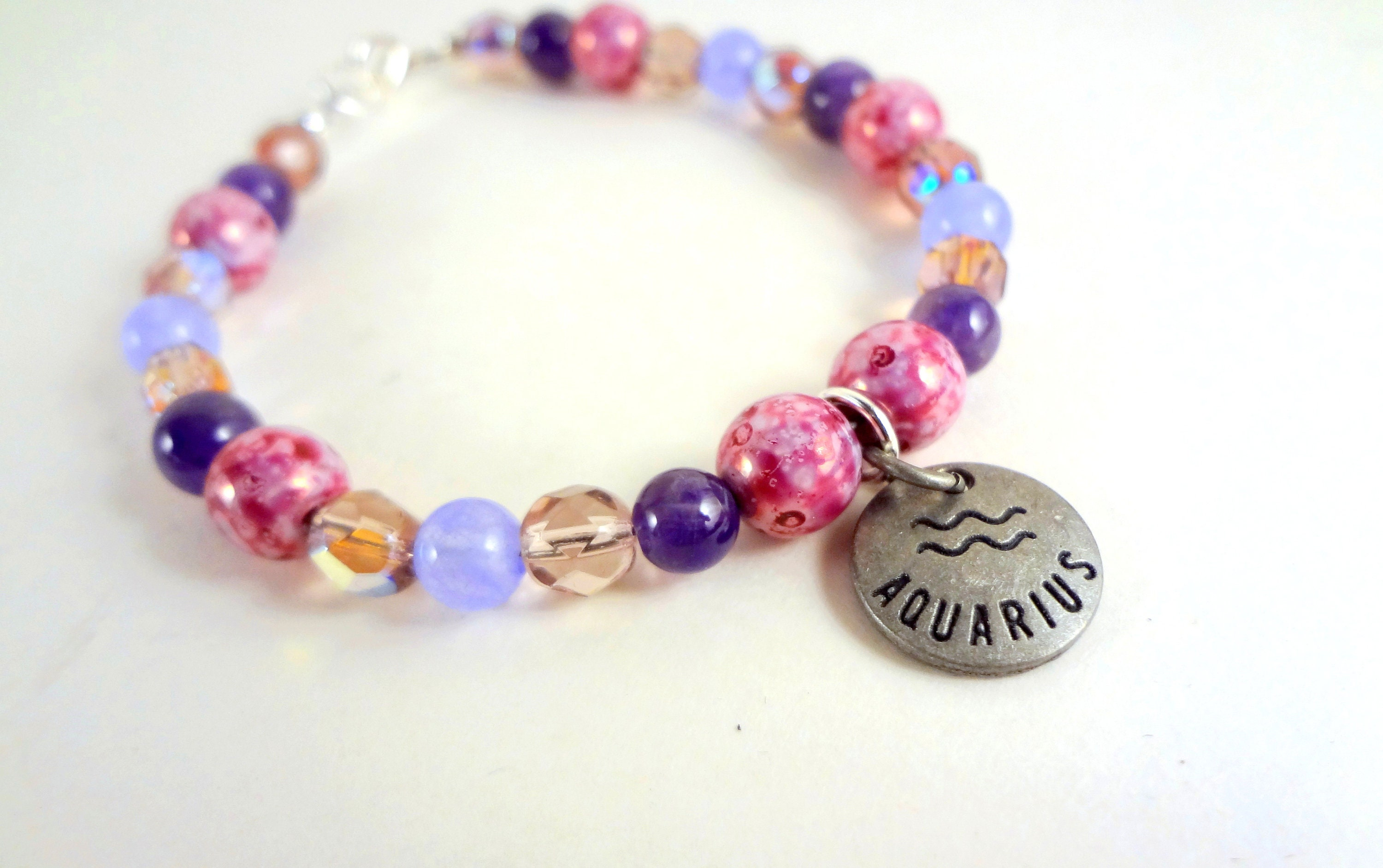 Aquarius Zodiac Charms Bracelet, February Amethyst Aquarius Jewelry, Aquarius Gift Zodiac Bracelets, Star Constellations Astrology Gifts