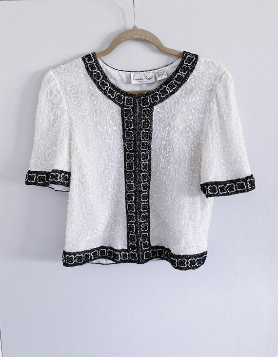 White//Black Short Sleeve Beaded Sequin Jacket//Ki