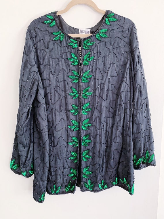 Black Beaded Jacket/Kimono with Green Sequin Leave