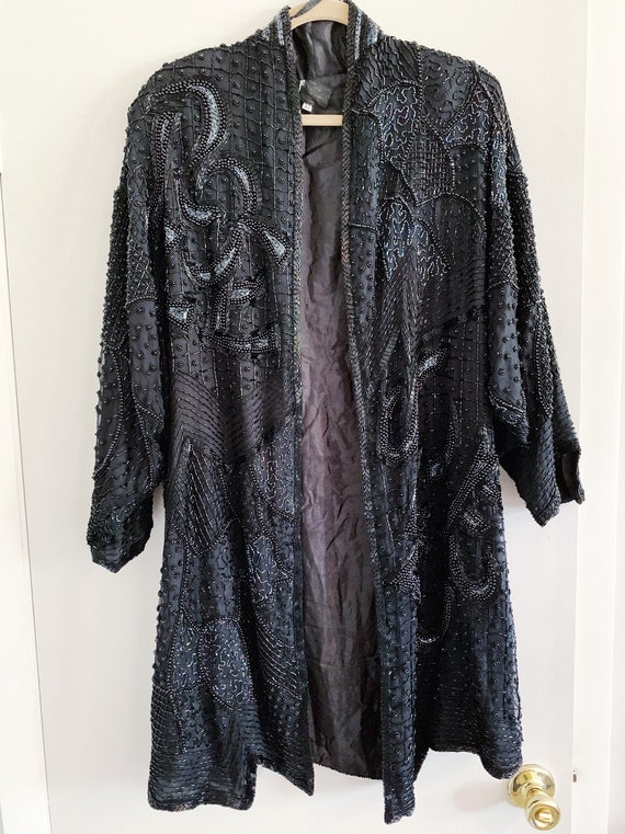 VTG Sequin Beaded Long Jacket/Duster/Kimono by Pin