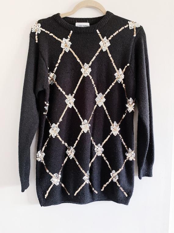 Argyle + Sequins Sweater