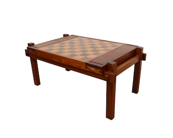 Teak Rosewood Game Table Chess Table Backgammon Table Danish Modern