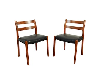 J.L. Moller 2 Teak Dining Chairs Model 84 Black Leather Denmark