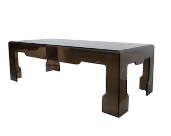 Jeffrey Bigelow Lucite Glass Coffee Table Mid Century Modern