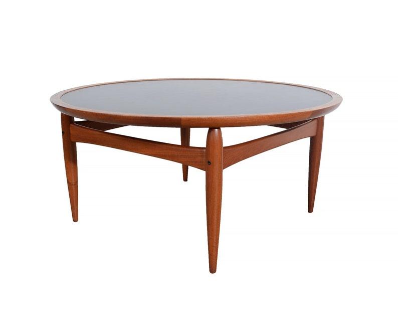 Flip Top Danish Modern Round Teak Coffee Table Teak Tray Table Ejvind Johansson