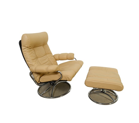 Groovy Cream Leather Ekornes Stressless Reclining Chair Ottoman Norway Mid Century Modern Ocoug Best Dining Table And Chair Ideas Images Ocougorg