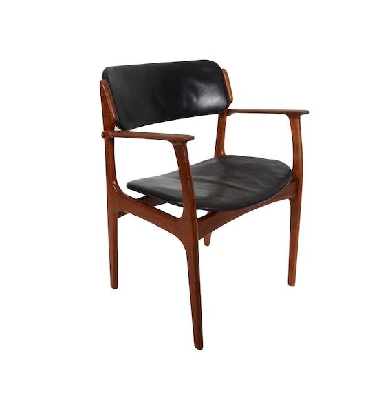Teca silla Erik Buck OD moderno danés Mobler comedor sillón de cuero negro