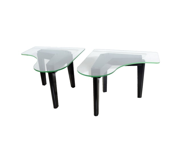Glass Top Side Tables Boomerang Top Piano Shaped Top Etsy