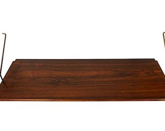 Rosewood Shelf and Brass Brackets 12 inch by HG Furniture Hansen Guldborg Danish Modern