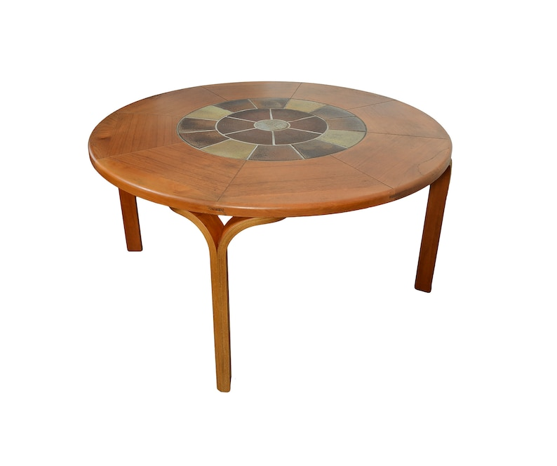 Merveilleux Round Teak Dining Table With Tile Center Haslev Danish Modern