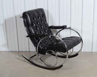 Woodard Leather Rocking Chair Mid Century Modern Lee L. Woodard and Sons