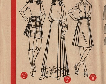 2126aacdec McCalls 3022 Pleated Skirt Sewing Pattern for Women Size 12 Waist 25 Hip 36  Mini skirt, Knee length, Long Maxi Vintage 1970s UNCUT Unused