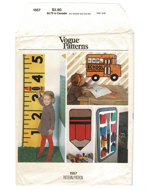 Child BedRoom Accessories Sewing pattern Vogue 1557 Children Boy Girl Wall  Growth Chart, Bedroom Organizer, Tote, Vintage 1970s Uncut Supply