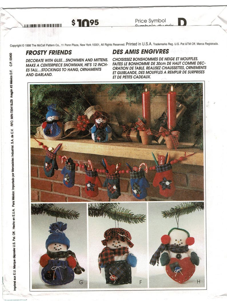 Printed Paper Uncut McCalls 9444 f Christmas Sewing Pattern Ornaments Snowmen Stockings Mitten Garland Holiday diy Rustic Home Decor