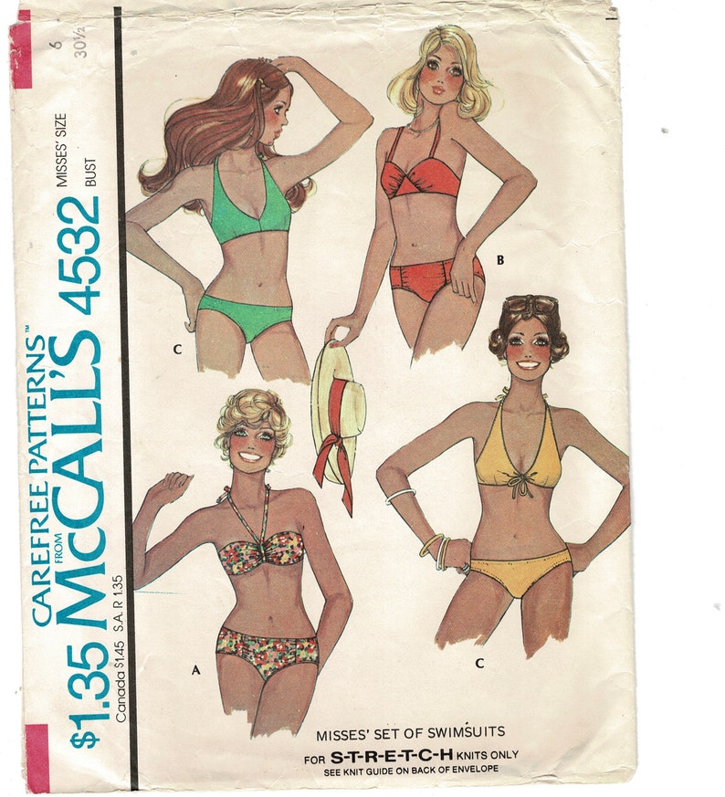 23945805e5 Swimsuits Sewing Patterns for Women McCalls 4532 Sexy Mini | Etsy