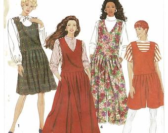 Simplicity 7434 Misses Jumper & Culotte Jumper Patterns in 2 lengths, Vintage 90s women sewing pattern plus size 16 18 20 22 24 uncut